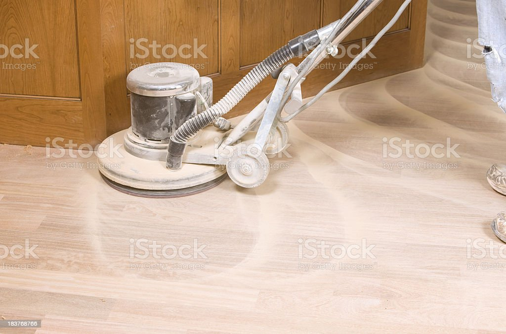 Rotary Sander on a New Hardwood Floor stock photo