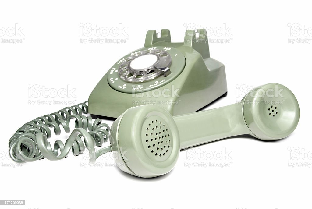 Rotary Telephone with Receiver off the Hook Isolated on White stock photo