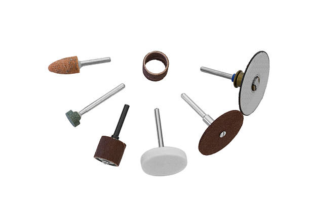 rotary tools-verstreut bits - dremel zubehör stock-fotos und bilder
