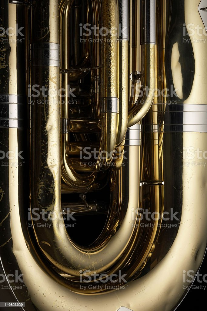 Rotary valve tuba stock photo
