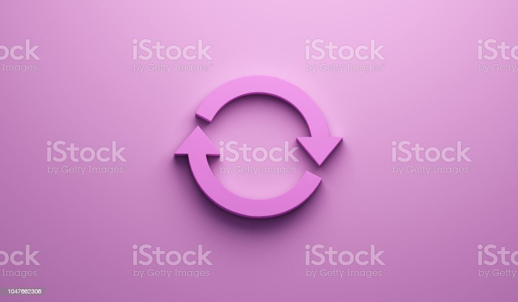 Rotate Pink Symbol on Wall. 3D Render Illustration stock photo
