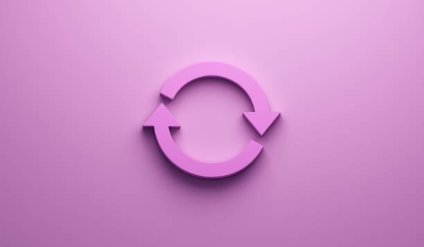 rosa symbol an wand zu drehen. 3d render-illustration - koordination stock-fotos und bilder
