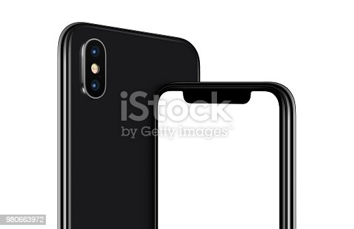 istock Rotated black smartphone mockup front and back sides cropped 980663972