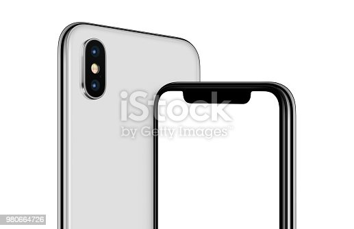istock Rotated white smartphone mockup front and back sides cropped 980664726