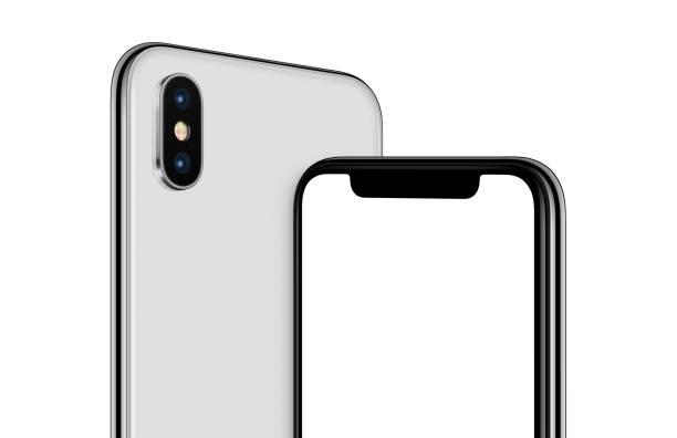 Pivoté smartphone blanc maquette avant et arrière côtés recadrées - Photo