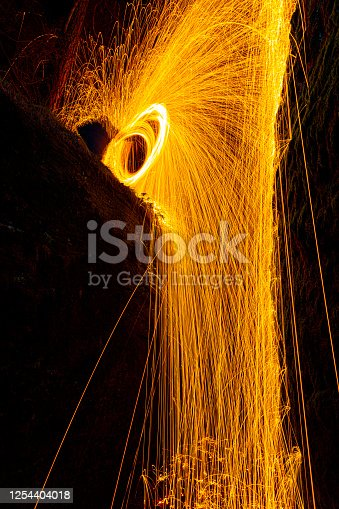 Burning steel wool being used to create beautiful imagery, photographed in a narrow rift