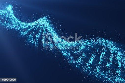 istock Rotating DNA, Genetic engineering scientific concept, blue tint, 3d rendering 695240526