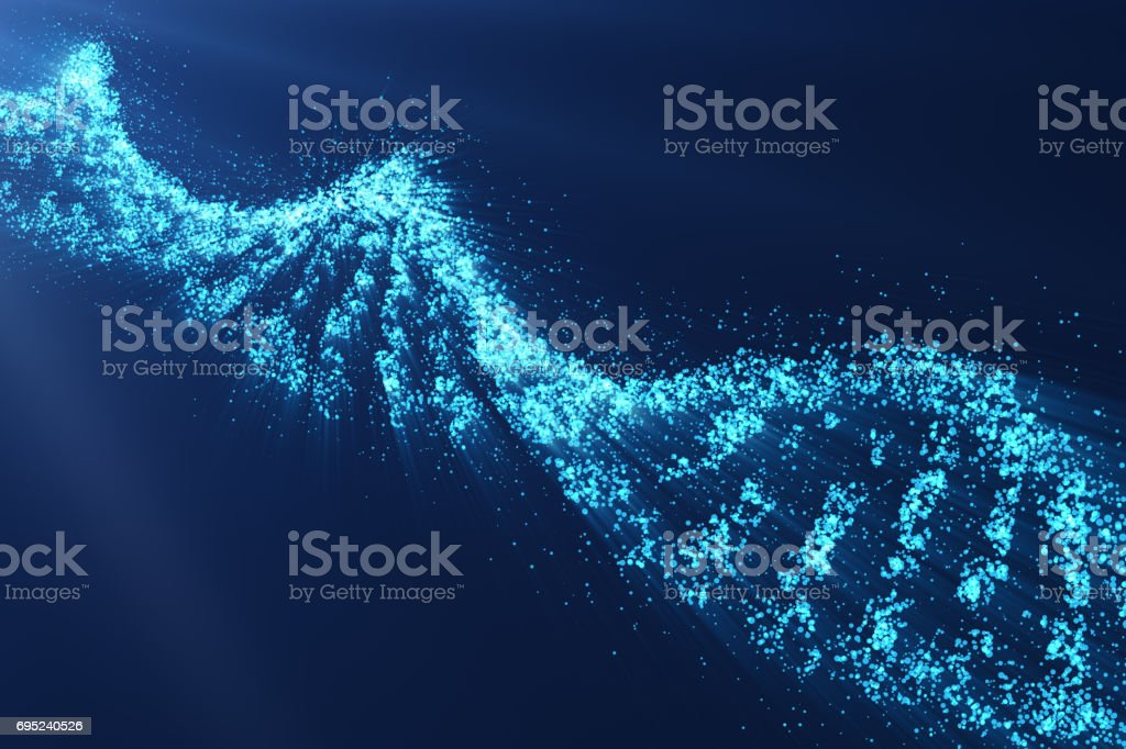 Rotating DNA, Genetic engineering scientific concept, blue tint, 3d rendering stock photo