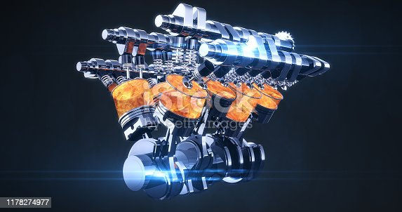 istock Rotating Fuel Injected V8 Engine With Explosions. 3D Illustration Render 1178274977