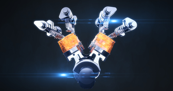 istock Rotating Fuel Injected V8 Engine With Explosions. 3D Illustration Render 1178275053