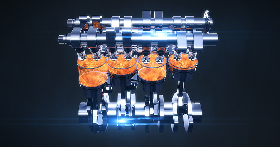 istock Rotating Fuel Injected V8 Engine With Explosions. 3D Illustration Render 1178275056