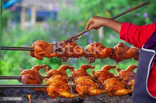 Traditional chicken barbecue on charcoal grill with beautiful smell