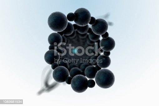 istock Rotating molecules. 3d illustration of a molecule 1083681534