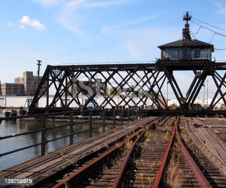 Railroad bridge that spins out of the way so boats can navigate the Milwaukee river near the Port of Milwaukee.