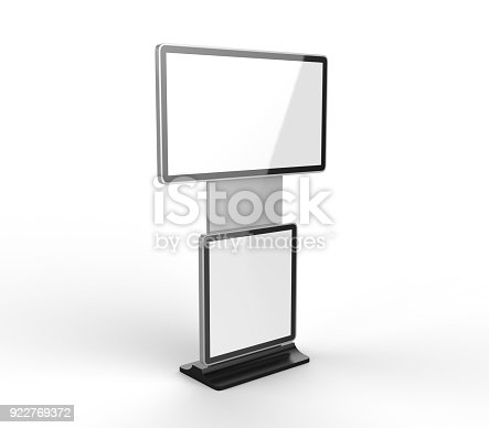 istock Rotating Shopping Mall Information Kiosk Prices Advertising Touch Screen Kiosk with Digital Signage HD Display. 3d render illustration. 922769372