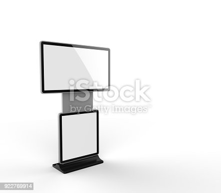 istock Rotating Shopping Mall Information Kiosk Prices Advertising Touch Screen Kiosk with Digital Signage HD Display. 3d render illustration. 922769914