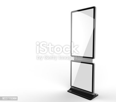 istock Rotating Shopping Mall Information Kiosk Prices Advertising Touch Screen Kiosk with Digital Signage HD Display. 3d render illustration. 922770066