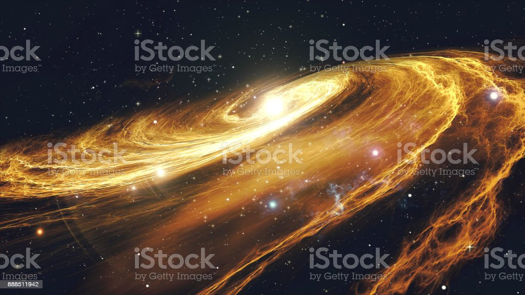 Rotating spiral galaxy with stars in outer space 3d illustration stock photo