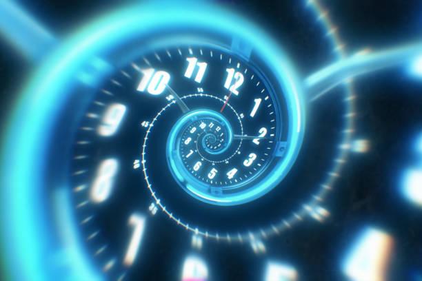 숫자에서 빛나는 시계의 나선형을 회전합니다. 추상적인 3d 그림 - 시간 뉴스 사진 이미지