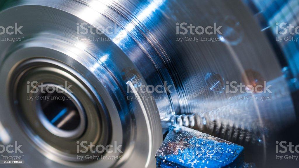 Rotating workpiece with blurred splinter. Beautiful motion blur stock photo