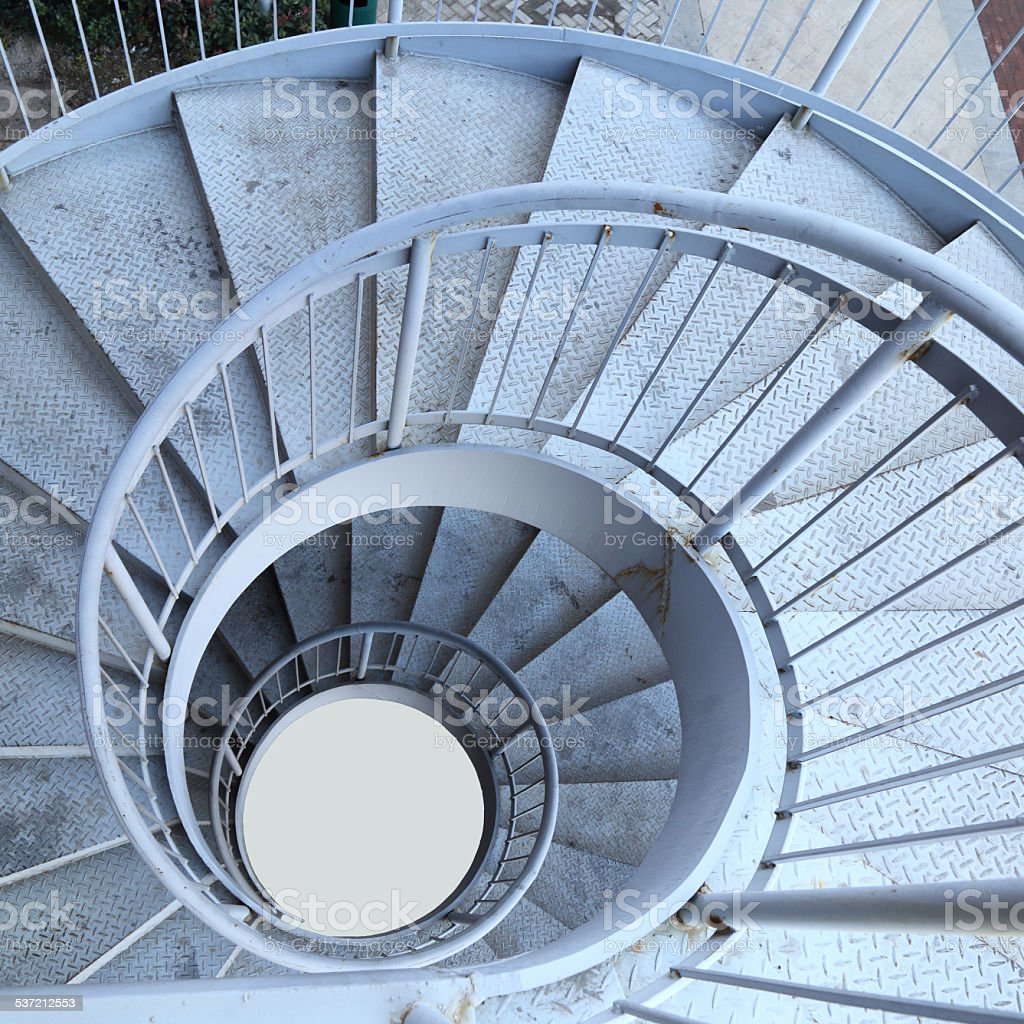 Rotation of the outdoor staircase stock photo