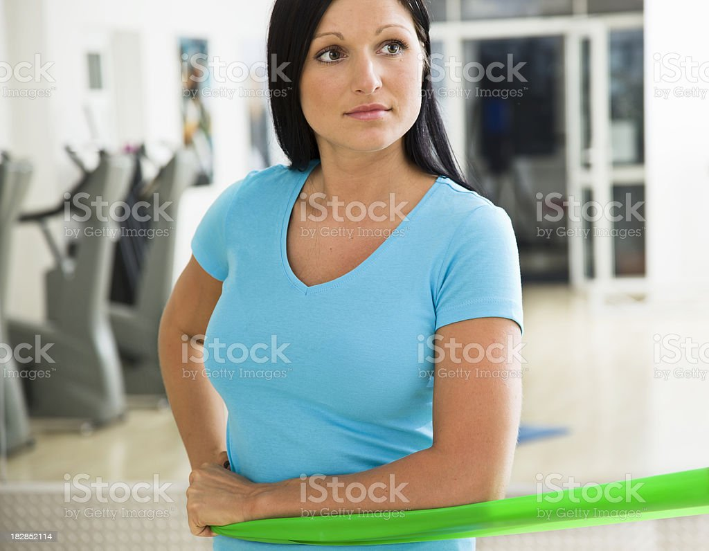 Rotator Cuff Exercises with Resistance Band royalty-free stock photo