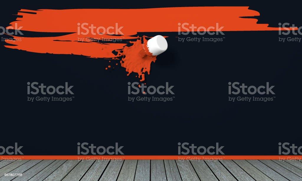 Rote Farbe Auf Schwarzer Wand. Royalty Free Stock Photo