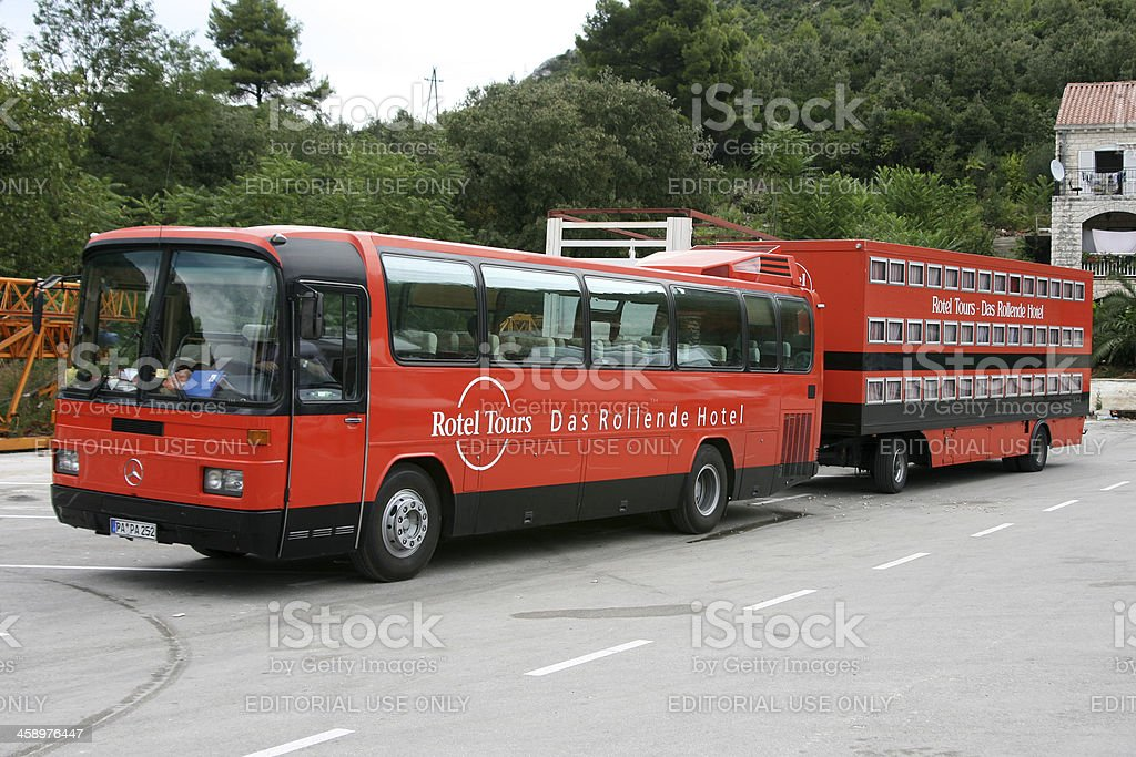 rotel tours red bus stock photo more pictures of bus. Black Bedroom Furniture Sets. Home Design Ideas