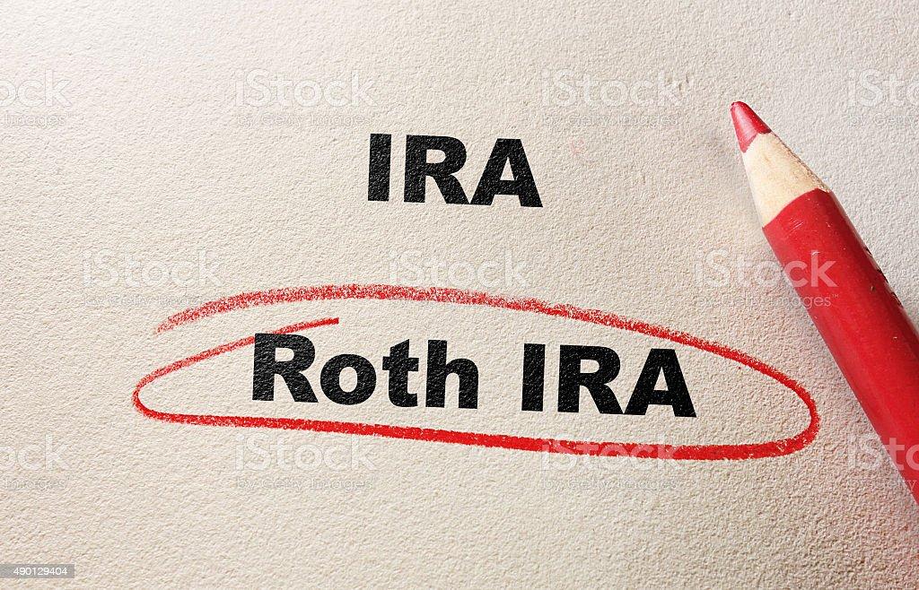 Roth IRA red circle stock photo
