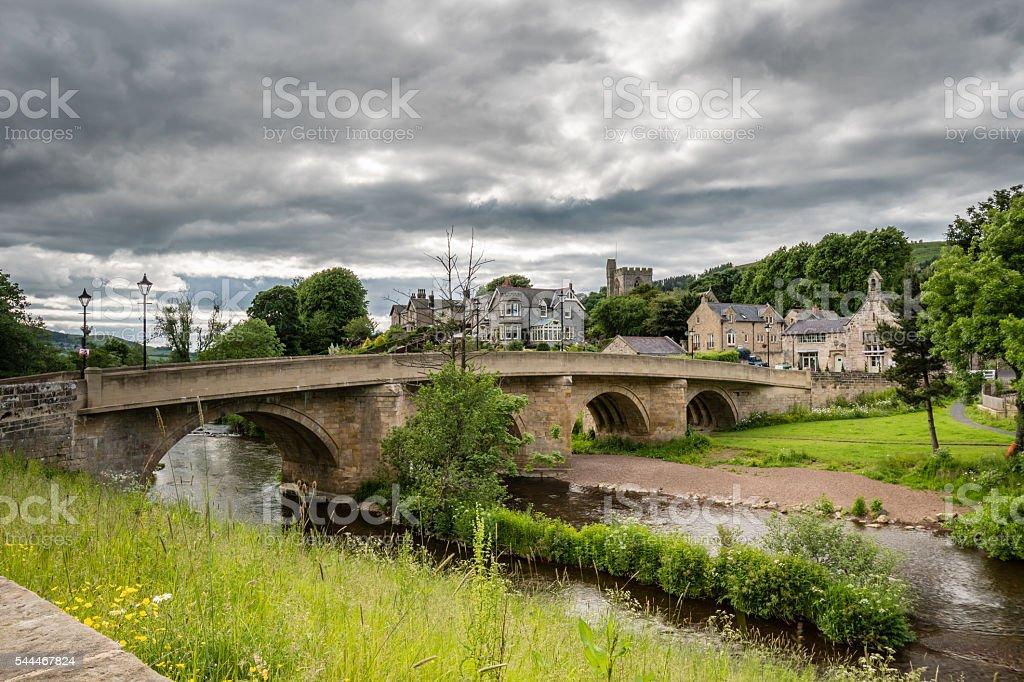 Rothbury Town and bridge stock photo