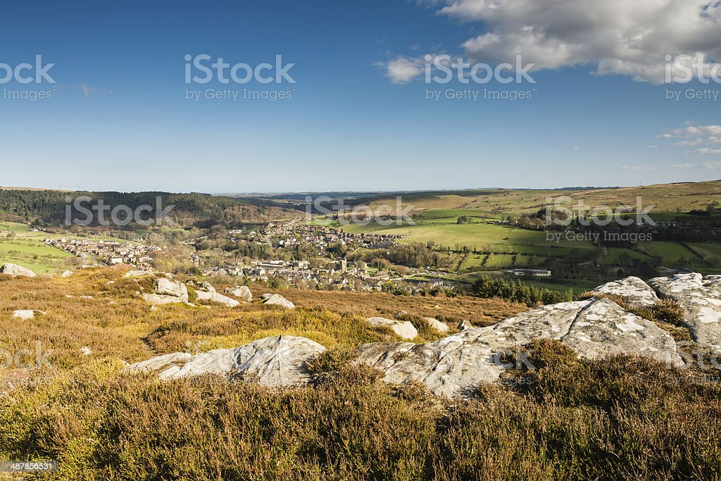 Rothbury Town from the Terraces stock photo