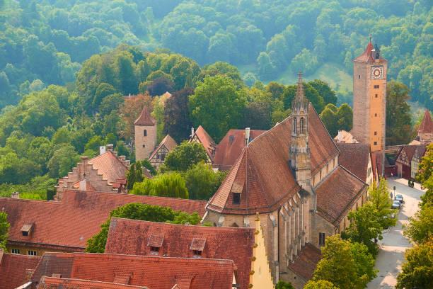 rothenburg ob der tauber, bovenaanzicht - rothenburg stockfoto's en -beelden