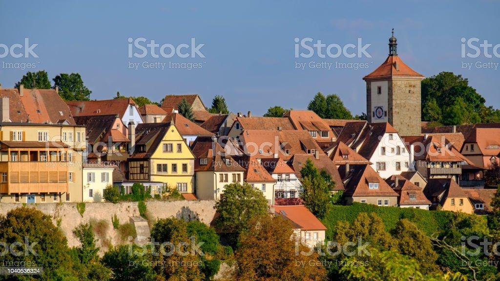 Rothenburg ob der Tauber, historische centrum (romantisch weg, Beieren, Duitsland) - Royalty-free 16x9-beeldverhouding Stockfoto