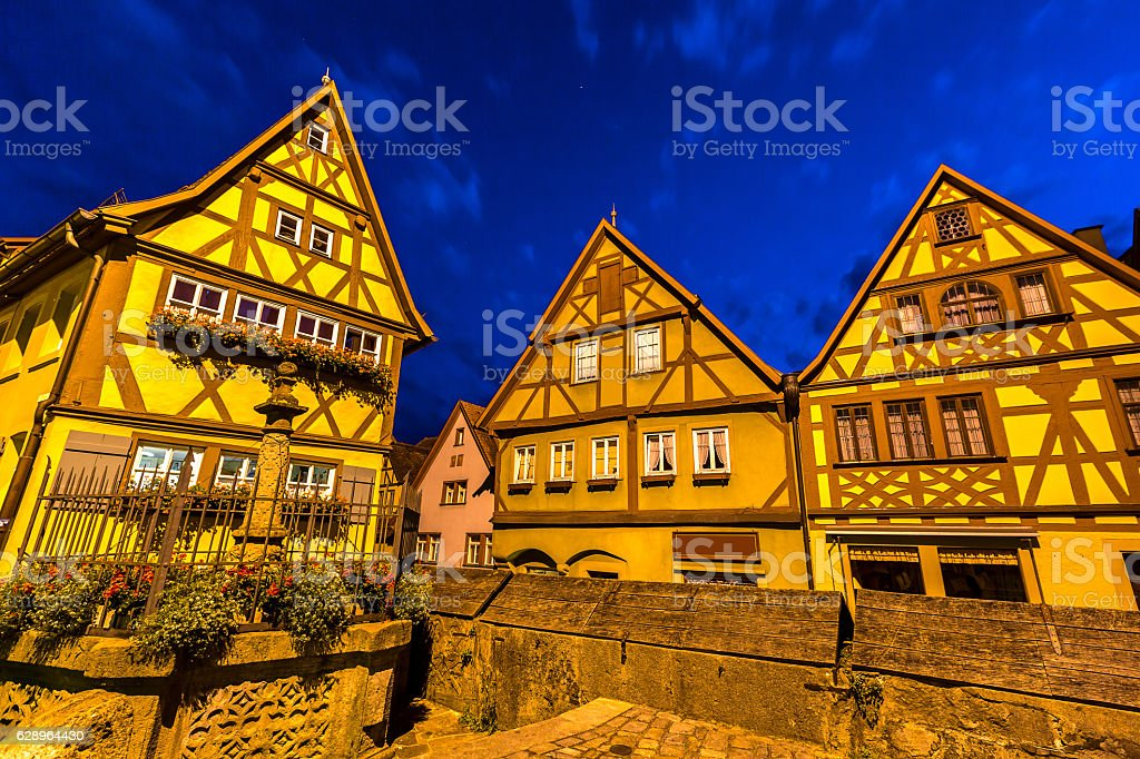 Rothenburg ob der Tauber Night stock photo