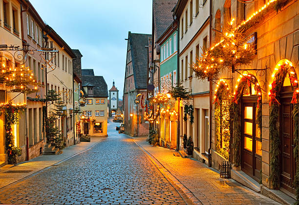 rothenburg ob der tauber - village stock photos and pictures