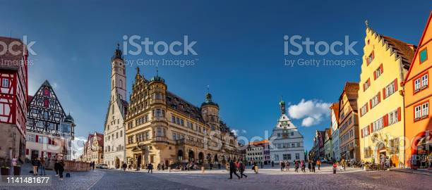 Rothenburg Stadhuis Ob Der Tauber Stockfoto en meer beelden van Antiek - Toestand