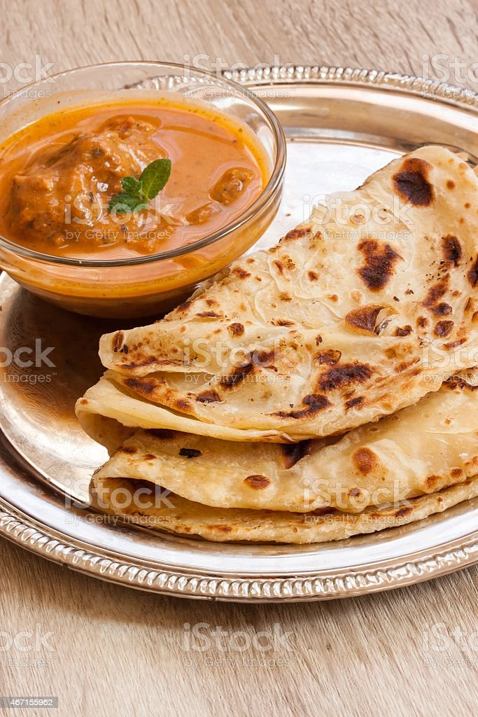 Roti and curry Indian meal - Royalty-free 2015 Stock Photo