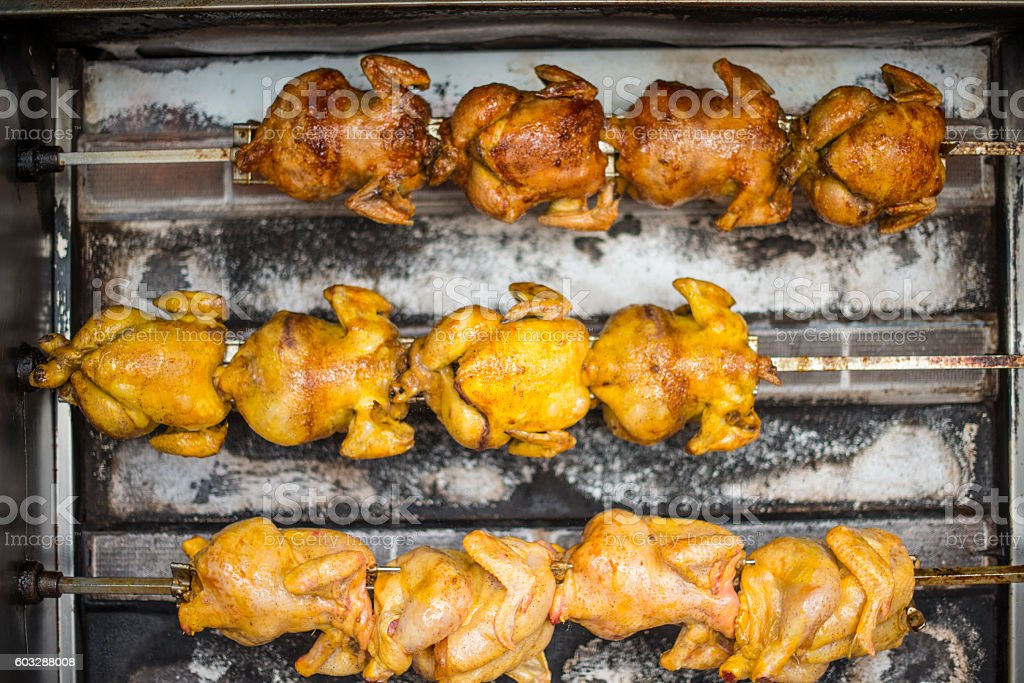 Rotisserie Chicken for sale royalty-free stock photo