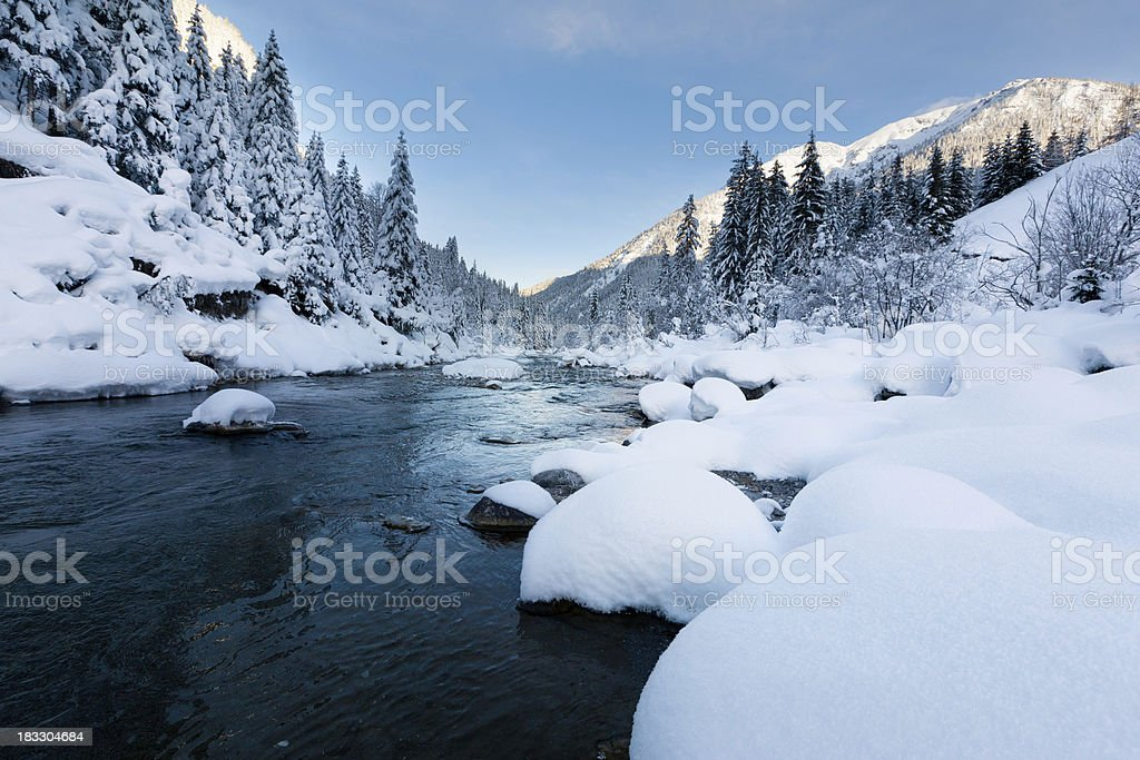 rotlech river in tirol - austria winterscene with snow royalty-free stock photo