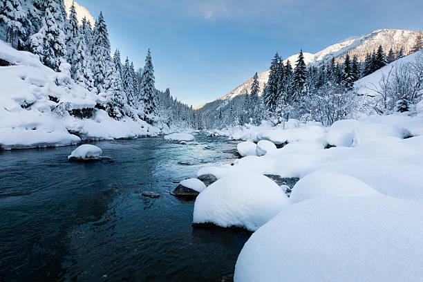 rotlech river in tirol – ÖSTERREICH winterscene mit Schnee – Foto