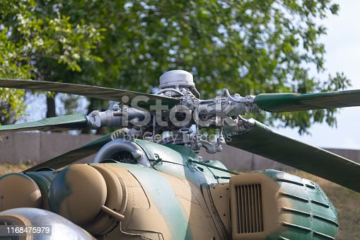 Close-up on the rotor of a Mil Mi-24 helicopter.