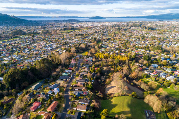 Rotorua Aerial View Rotorua Aerial View rotorua stock pictures, royalty-free photos & images