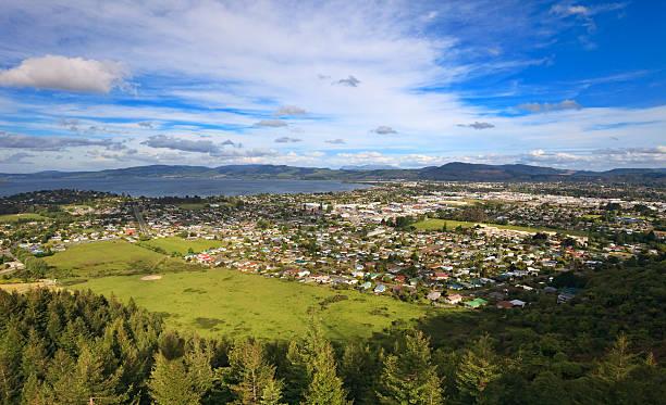 "Rotorua, New Zealand ""Aerial view of Rotorua, New Zealand"" rotorua stock pictures, royalty-free photos & images"