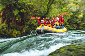 October 28, 2019. Kaituna River, Rotorua, New Zealand. The Kaituna River is a well known place to come for whitewater rafting in Rotorua. The Kaituna has the highest commercially rafted waterfall in the world. The waterfall is called Tutea and is about 7m tall. There are several other smaller waterfalls on the 45 minute trip down the river. This raft is just entering the chute, approximately 5 minutes from the put in.