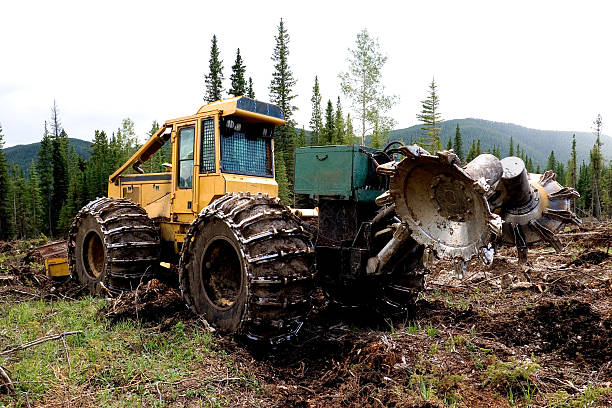 rototiller # 2 - logging equipment stock photos and pictures