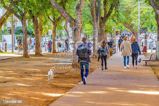 TEL AVIV, ISRAEL, DECEMBER - 2019 - Afternoon scene at famous rotschild pedestrian in tel aviv city, israel