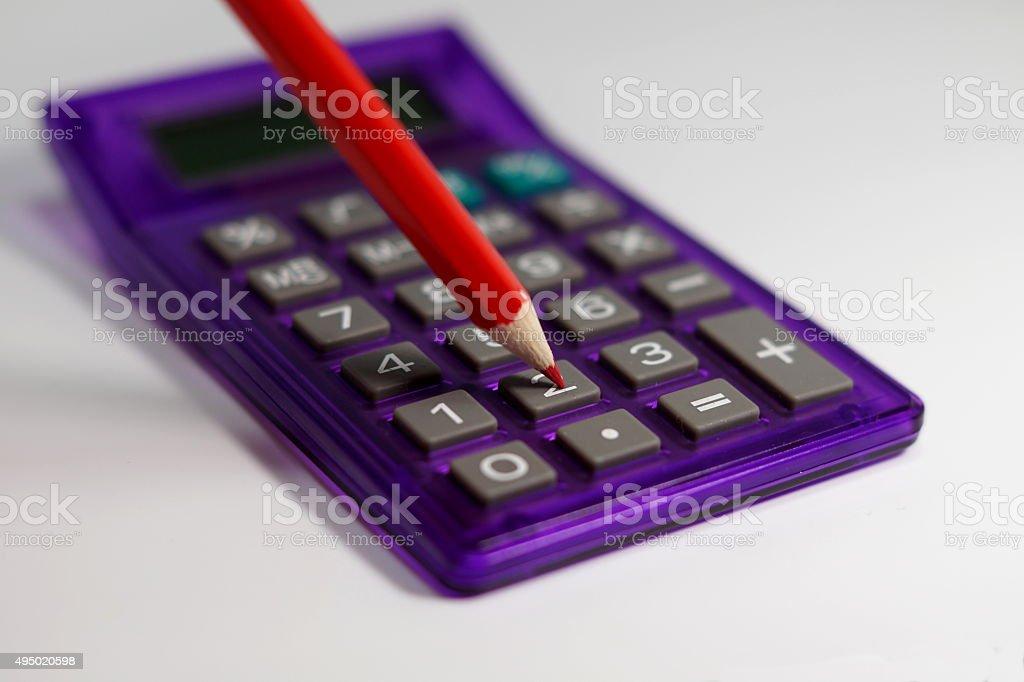 Rotstift Taschenrechner stock photo