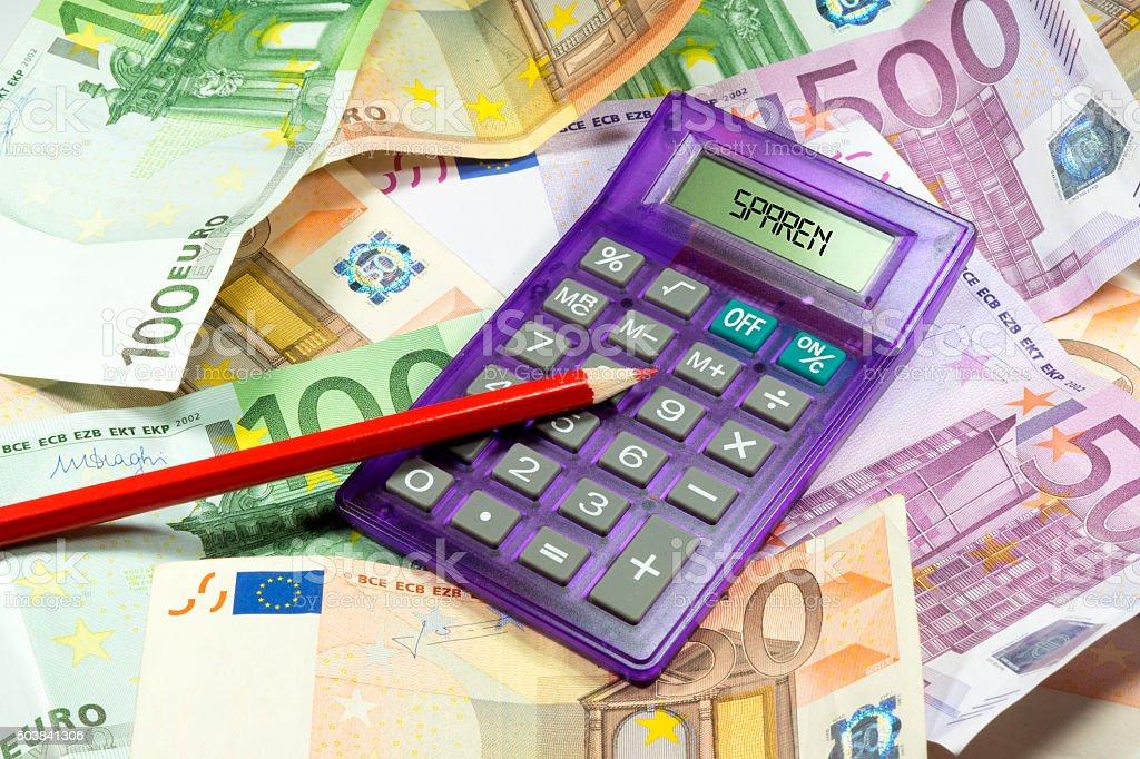 Rotstift und Taschenrechner stock photo