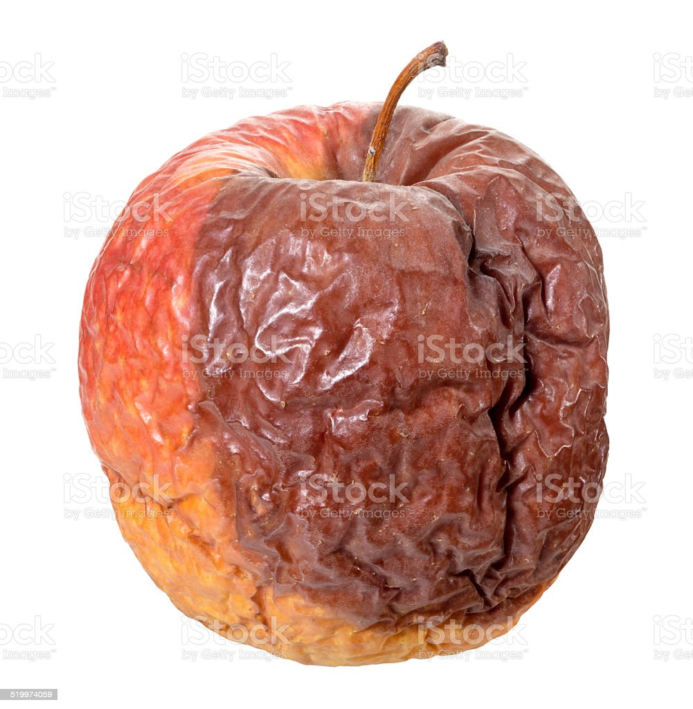 Rotten apple(+clipping path) stock photo