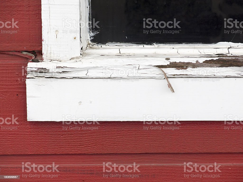 Rotten, Peeling Windowsill stock photo